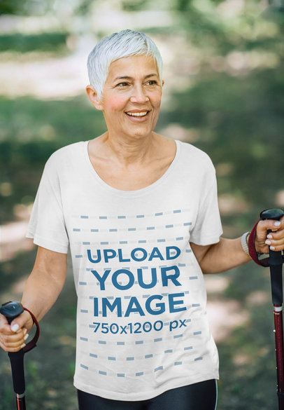 T-Shirt Mockup of a Senior Hiker Enjoying Her Day 40082-r-el2