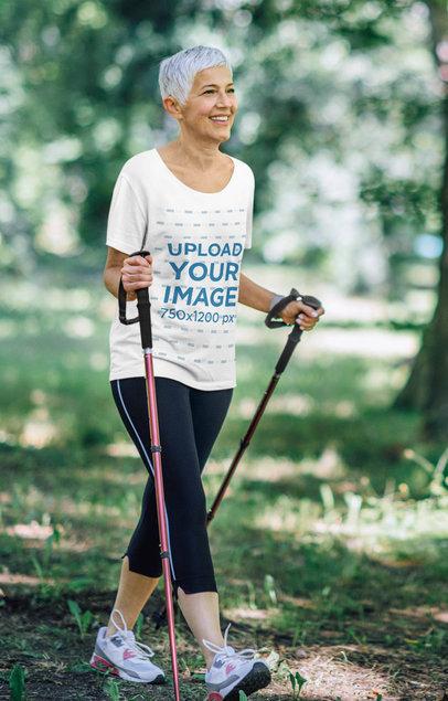 T-Shirt Mockup Featuring a Senior Woman Hiking 42005-r-el2