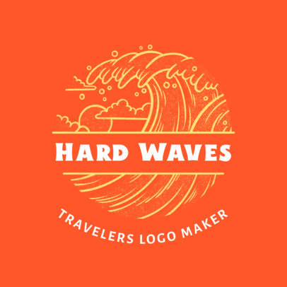 Logo Template for a Surfing Travel Agency with a Wave Graphic 4020d