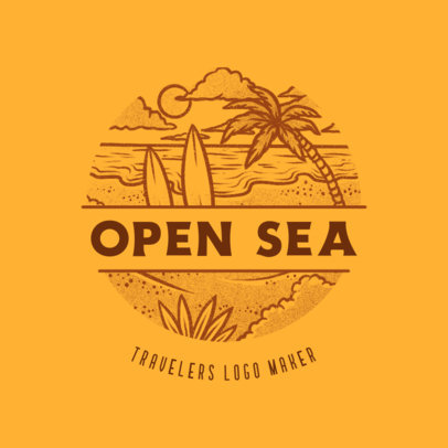 Logo Template for a Surfing Agency Featuring a Beach Landscape Icon 4020g