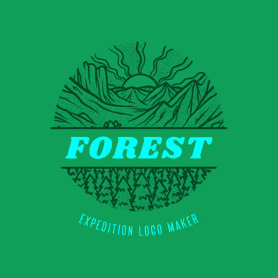 Travel Agency Logo Maker Featuring a Circular Forest Landscape 4020j