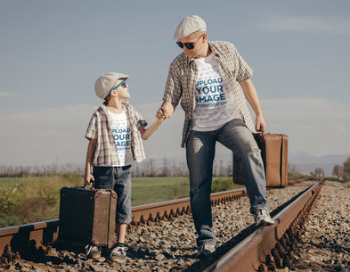 T-Shirt Mockup Featuring Dad and Son at a Railroad 35246-r-el2