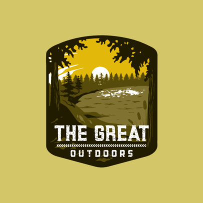 Logo Template for an Outdoor Equipment Shop Featuring a Forest Landscape 4024k