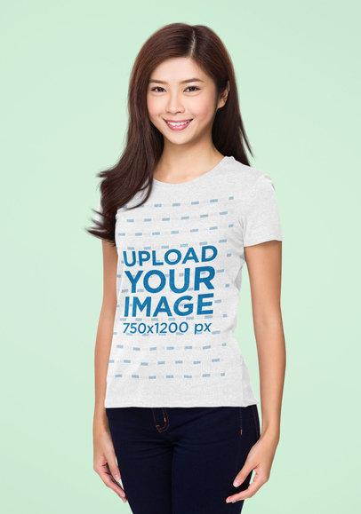 Simple Mockup of a Happy Woman Modeling a T-Shirt in a Studio 46861-r-el2