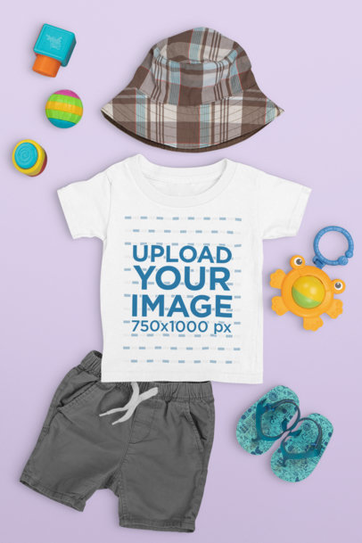 T-Shirt Mockup of a Toddler's Beach Outfit m1131