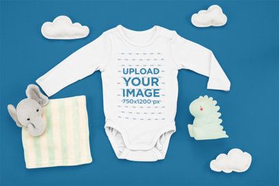 Mockup of a Baby Onesie with a Dinosaur Toy and an Elephant Plushie m1120