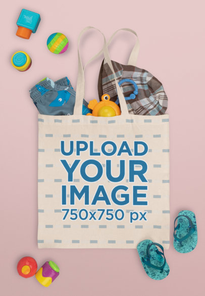 Mockup of a Tote Bag with a Baby's Toys and Clothing M1132