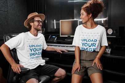 T-Shirt Mockup of Two Singers Hanging At a Recording Studio 39731-r-el2