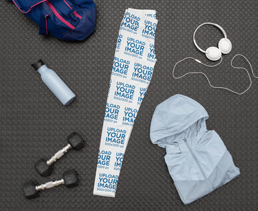 Mockup of a Pair of Leggings Surrounded by Gym Affairs M1176