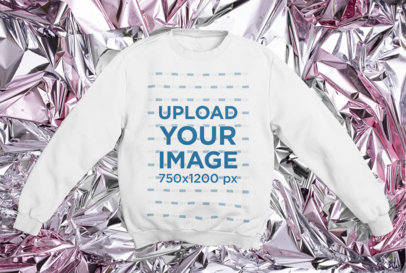 Crewneck Sweatshirt Mockup Featuring a Metallic Background m1163