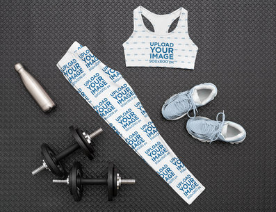 Sports Bra and Leggings Mockup Featuring a Women's Gym Outfit M1177
