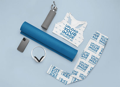 Flat Lay Mockup Featuring a Sports Bra and Leggings in a Fitness Setting m1200