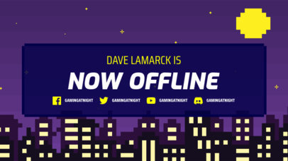 Twitch Offline Banner Template With a Pixel Art Aesthetic and a City Skyline Background 3368b