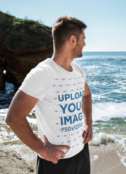 Heathered T-Shirt Mockup of a Serious Man at the Beach 45487-r-el2