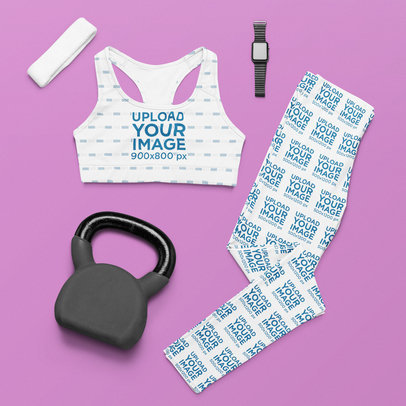 Mockup of a Pair of Leggings and a Sublimated Sports Bra by a Kettlebell m1204