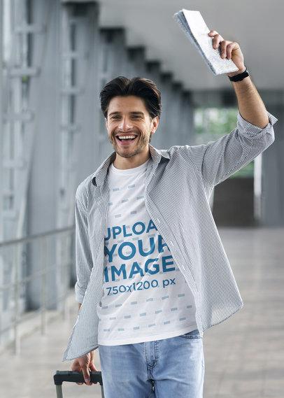 T-Shirt Mockup of a Man Arriving at the Airport 41774-r-el2