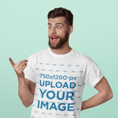 T-Shirt Mockup of a Surprised Bearded Man in a Studio 38218-r-el2