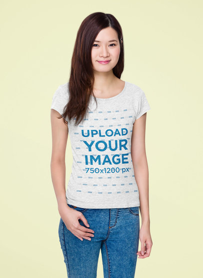 Mockup of a Young Long-Haired Woman Wearing a Heathered T-Shirt at a Studio 46741-r-el2