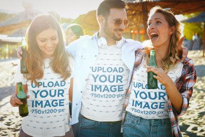 T-Shirt and Tank Top Mockup Featuring Three Friends Having Fun 41088-r-el2