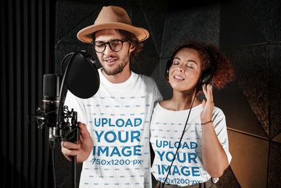 T-Shirt Mockup of Two Musicians Singing at a Recording Studio 39730-r-el2