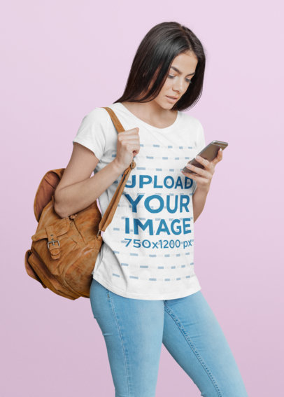 T-Shirt Mockup of a Woman Checking Her Phone at a Studio 40295-r-el2
