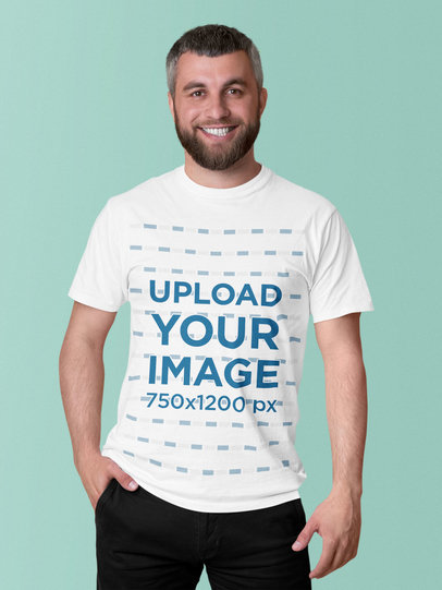 Round Neck T-Shirt Mockup of a Bearded Man at a Studio 46107-r-el2