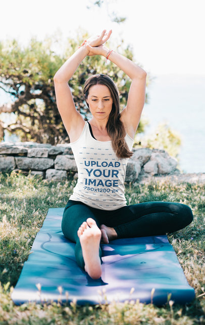 Tank Top Mockup of a Woman Doing Yoga by the Ocean 35391-r-el2