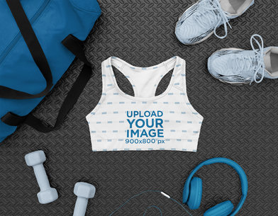 Mockup of a Sports Bra with Gym Equipment m1178
