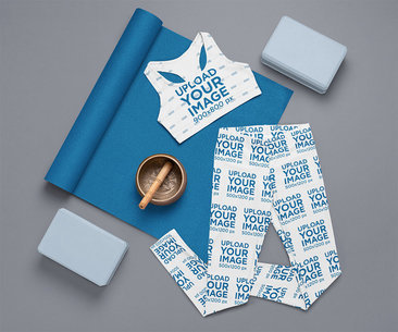 Outfit Mockup of a Sports Bra and Women's Leggings Ready for a Toga Session m1199