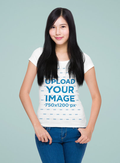 T-Shirt Mockup Featuring a Long-Haired Woman Standing in a Studio 46865-r-el2