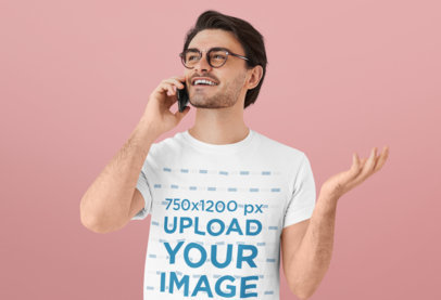 T-Shirt Mockup of a Young Bearded Man Talking on the Phone 40368-r-el2