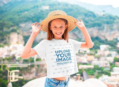 T-Shirt Mockup of a Little Girl Wearing a Hat 40016-r-el2