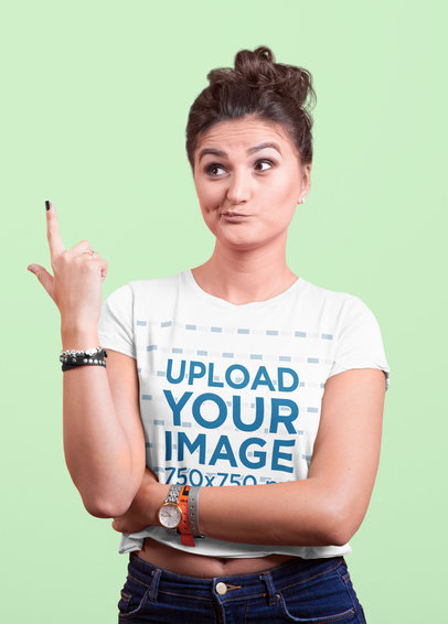 Crop Top Mockup of a Woman Making a Funny Face and Pointing to the Sky 40170-r-el2