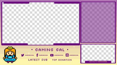 Twitch Overlay Design Maker Featuring a Pixel Art Princess 3368c