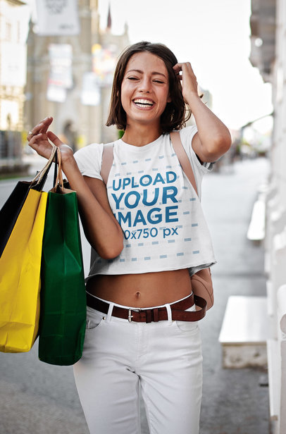 Crop Top Mockup of a Happy Woman Out Shopping 41241-r-el2