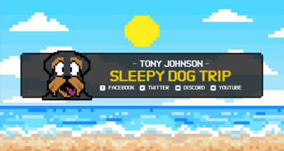Twitch Banner Maker Featuring an 8-Bit Background and a Dog Clipart 1452f-3368