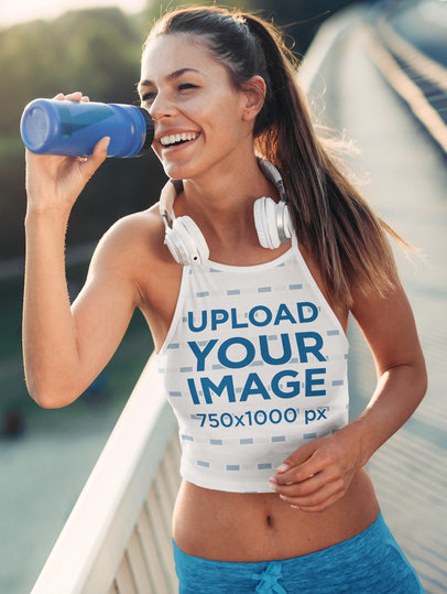 Sublimated Crop Top Mockup of a Woman Drinking Water After a Run 41222-r-el2