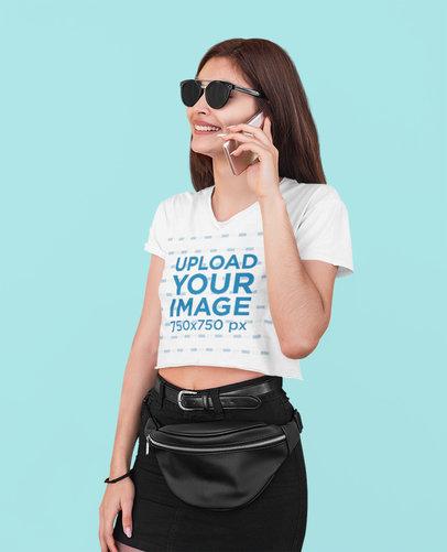 Crop Top Mockup of a Woman With Sunglasses Making a Call at a Studio 39971-r-el2