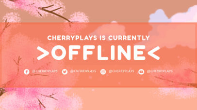 Retro Twitch Offline Banner with an Illustrated Sakura Tree Branch 3369e