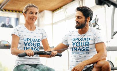 T-Shirt Mockup Featuring a Bearded Coach Training a Woman 42650-r-el2