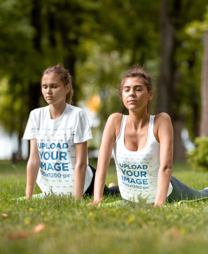 Tank Top and T-Shirt Mockup of Two Women Doing Yoga at a Park 35571-r-el2