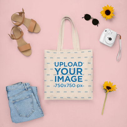 Tote Bag Mockup Featuring a Girly Spring Outfit m1642