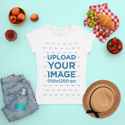Mockup of a Crew Neck T-Shirt Surrounded by Picnic Food and Summer Garments m1663