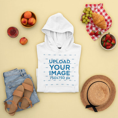 Hoodie Mockup Featuring a Women's Outfit for a Picnic m1664