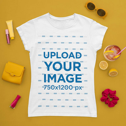 T-Shirt Mockup Featuring a Summer Drink and Girly Accessories m1671