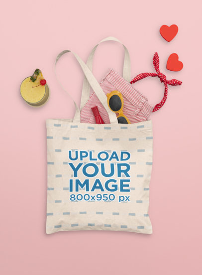 Mockup of a Tote Bag Carrying a Summer Outfit M1666