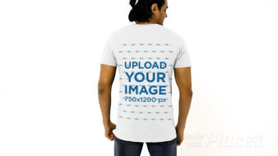 Back-View T-Shirt Video Featuring a Man Standing in a Studio 44695a
