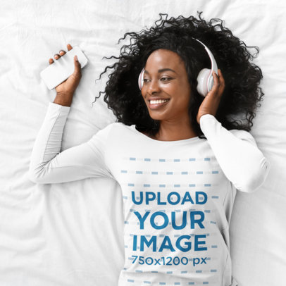 Long Sleeve Tee Mockup of a Woman Lying in Bed with Her Headphones On 46349-r-el2