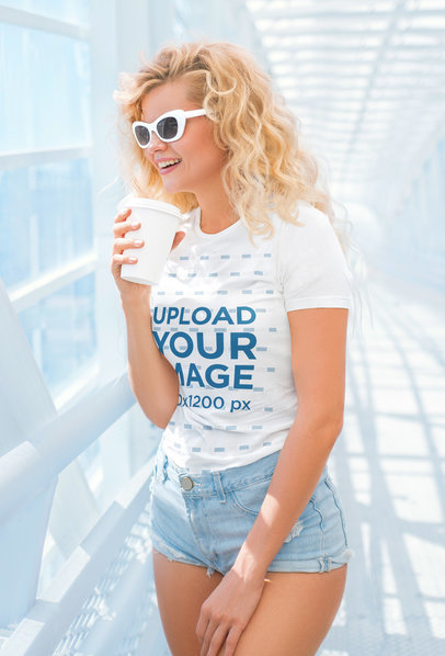 T-Shirt Mockup Featuring a Blonde Woman with Sunglasses 37840-r-el2
