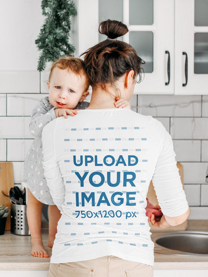 Back-View Long Sleeve Tee Mockup of a Woman Taking Care of a Baby 39275-r-el2